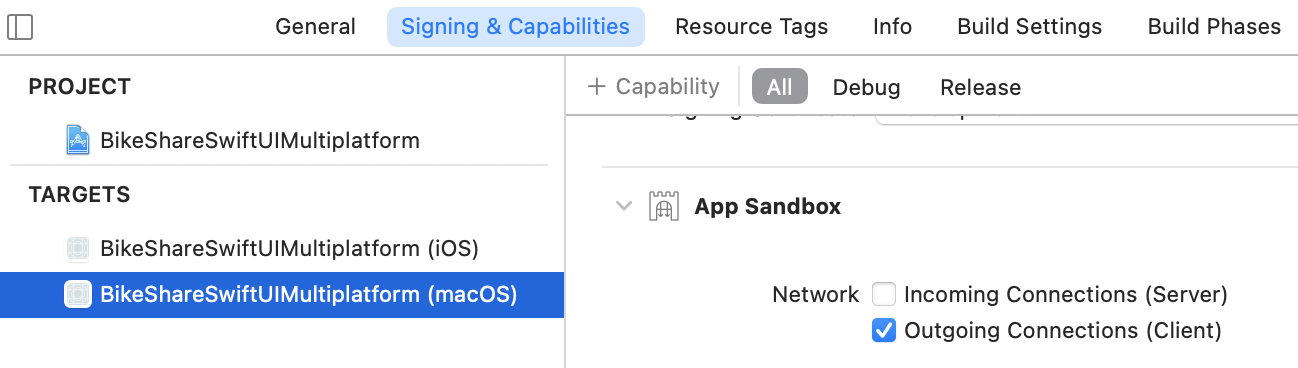 Xcode: enable outgoing connections